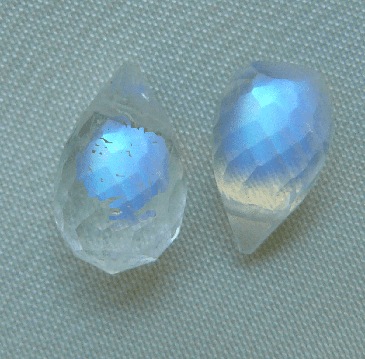 Rainbow Moonstone Briolette Beads Set of 2 Drops 5x10MM