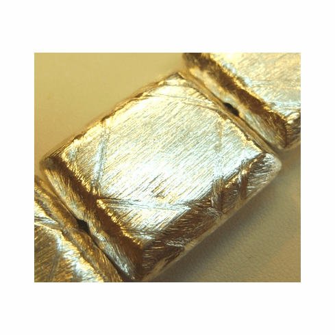 Rectangle Brushed Beads 25x27mm .999 Silver Over Copper SCBK244