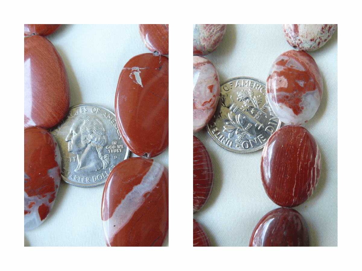 "Red Banded Jasper oval Beads 16"" Strands"