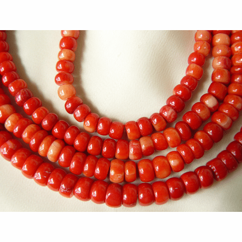 "Red coral Rondelle Beads 5x8mm or 5x6mm 16"" strands"