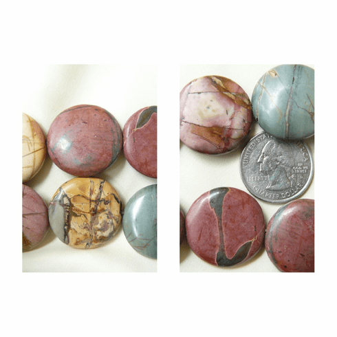 Red Creek Jasper Beads, Colorful pastels 16 Beads 25x6mm