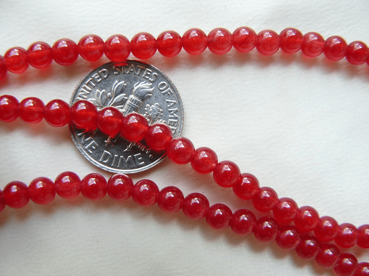 "Red Jade Beads 4mm Round 16"" Strands"