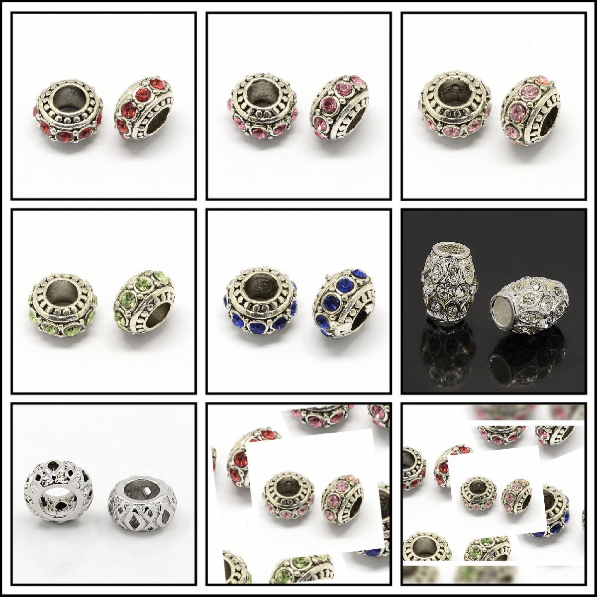 Rhinestone European Beads, Rondelle Large Hole Beads, 11x7mm, Hole: 5mm