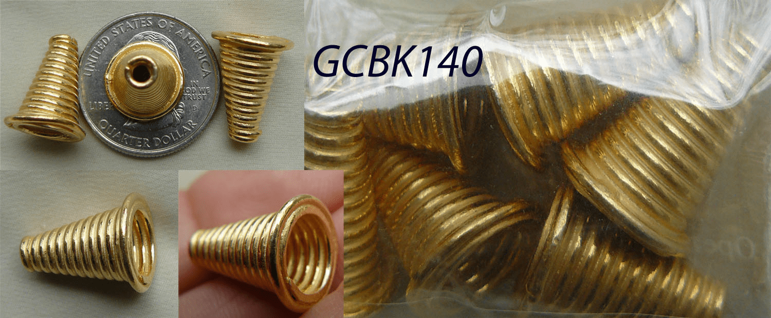 Ridged Cones - 17mm - 4 Pieces - 24KT Gold Over Copper
