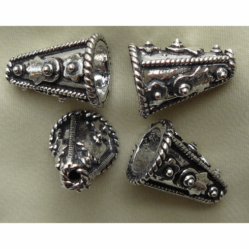 Rope Detail Cone - 15mm - 6 Pieces - .999 Silver Over Copper