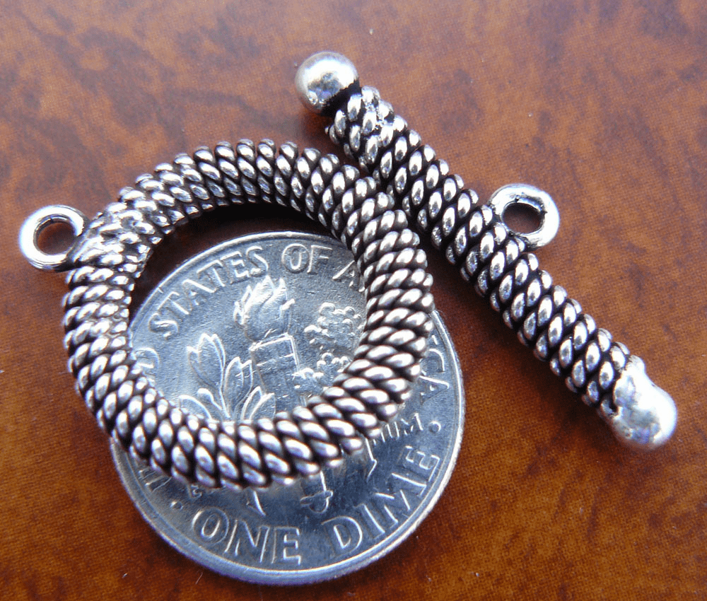 Rope toggle 15mm 925 Sterling Silver 1 set