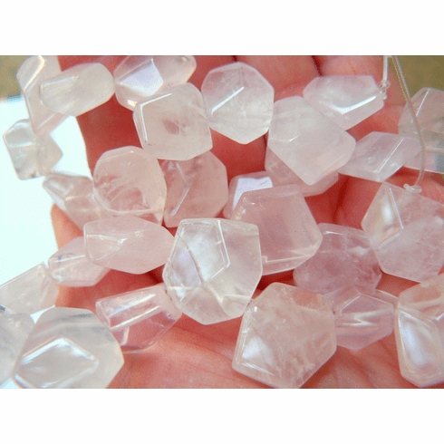 Rose Quartz Beads flat Faceted Nuggets  7x12mm Top Drilled