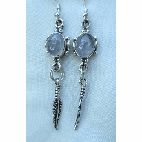 Rose Quartz Natural Sterling silver earrings Native American style