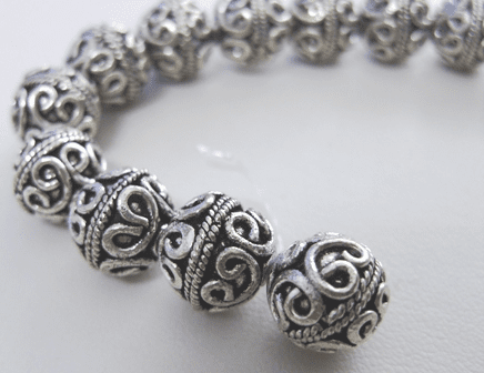 Bali Style Bead 11mm 6 beads .999 Pure Silver Over Copper SCBKP96