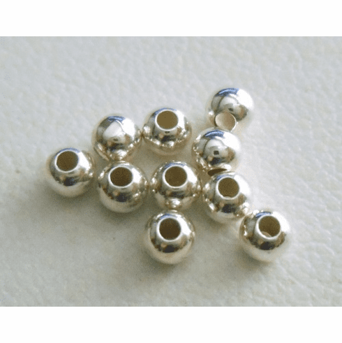 Round Bead - 3mm - 10 Pieces - Sterling Silver<br>SS30003