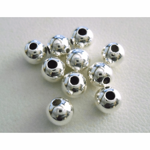 Round Bead - 5mm - 10 Pieces - Sterling Silver<br>SS-3000-5