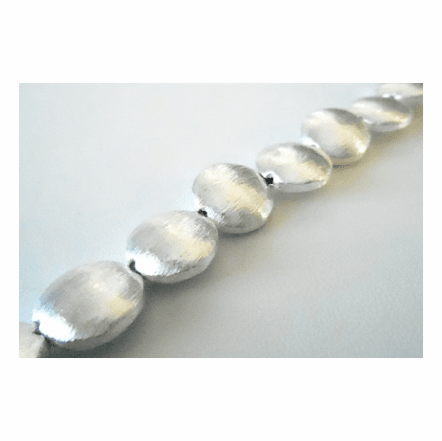 Round Brushed Bead - 12mm - 18 Beads - .999 Silver Over Copper<br>SCBK297