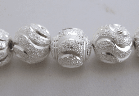Round Diamond Style 4-Cut Bead - 12mm - 18 Beads - .999 Silver Over Copper<br>SSCC04
