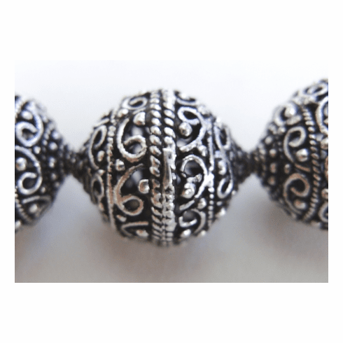Round Hollow Bead - 18mm - 4 Beads - .999 Silver Over Copper<br>SCBK4-2