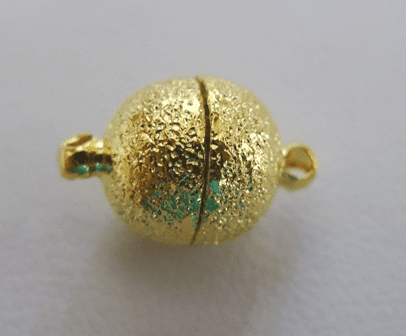 Round Magnetic Clasp - 12mm - 2 Clasps - 24Kt. Gold Over Copper