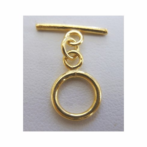"Round ""Mini"" Toggle 10mm Circle w/ 16mm Bar 10 Clasps 24Kt. Gold Over Copper"