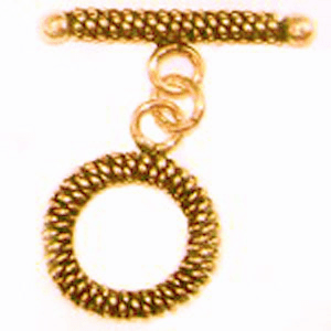 Round Rope Toggle - 15mm Circle w/ 25mm Bar - 3 sets - 24Kt. Gold Over Copper