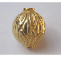 Round Textured Bead - 12x14mm - 16 Beads - 24kt Gold Over Copper<br>GCBK89