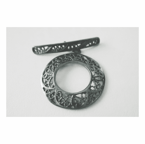 Round Toggle with Fancy Lace Design - 22mm w/ 28mm Bar - 1 Clasp - Gun Metal<br>7175GM