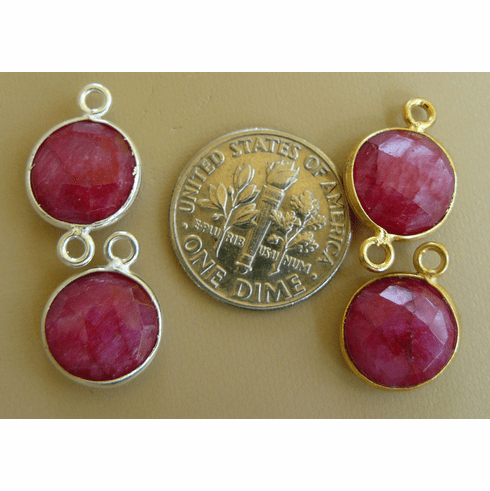 Ruby Quartz faceted gems with 1 or 2 loops silver or gold 10mm