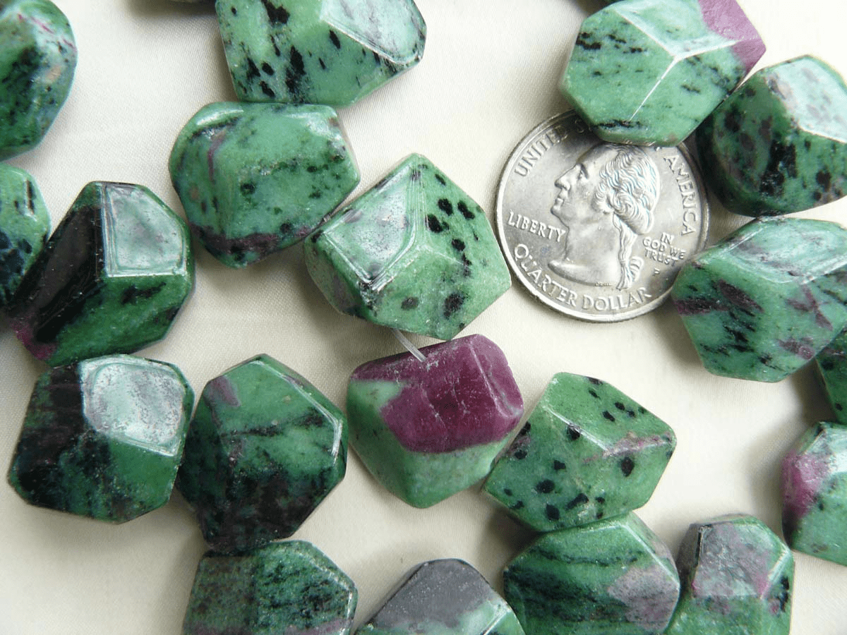 Ruby Zoisite Faceted Nugget Beads 16x20mm