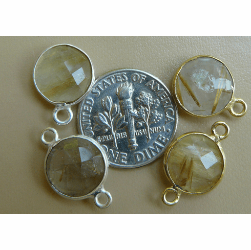 Rutilated Quartz 10MM gemstone Connectors with Gold or Silver Finish