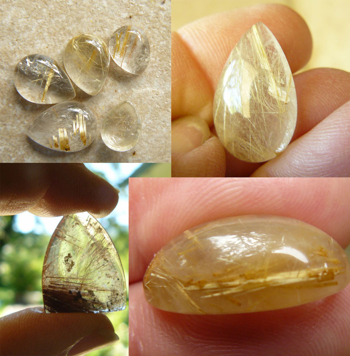 Rutilated Quartz cabochons With Golden Titanium Lines