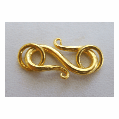 S-Hook Clasp 18mm Clasp w/ 6mm Jump Ring 16 Sets 24Kt. Gold Over Copper
