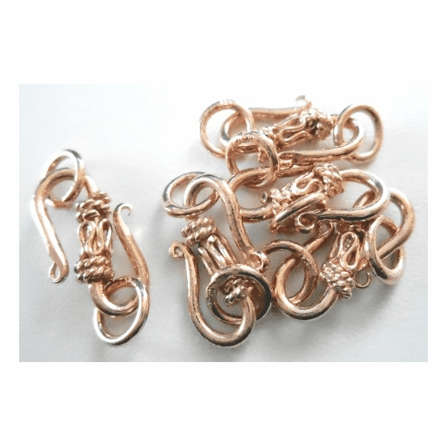 """""""S"""" Hook w/DetailRose - 20mm - 5 Pieces - Gold Over Copper<br>SICF01"""
