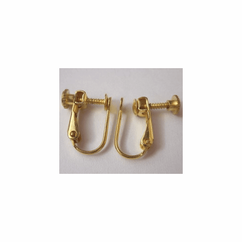 Screw-on Ear Wire - 8x15mm - 3 pairs - 24KT Gold Over Copper