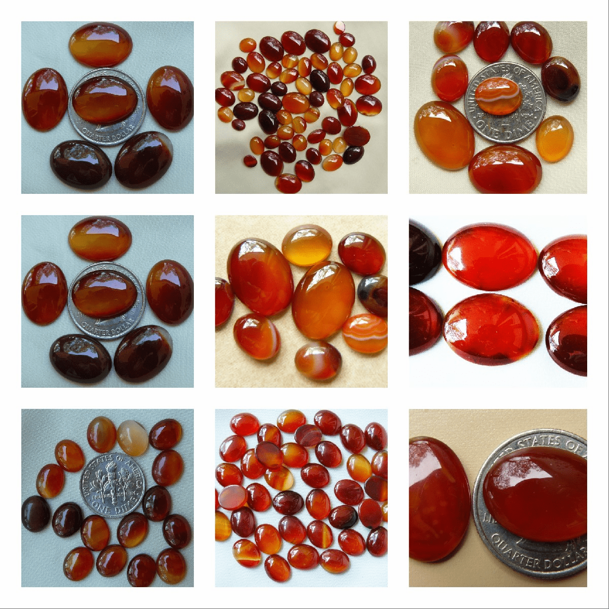 set of 2 Carnelian Cabochons Calibrated Ovals choice of sizes