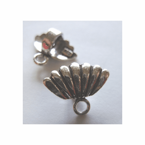 Shell Design Bail - 16x13mm - 6 Pieces - .999 Silver Over Copper