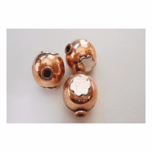 Silver Accent Bead - 12x14mm - 3 Beads - Copper<br>CB26
