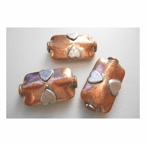 Silver Accent Bead - 12x20mm - 3 Beads - Copper<br>CB25
