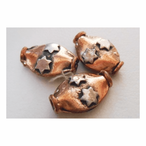 Silver Accent Bead - 9x15mm - 3 Beads - Copper<br>CB30