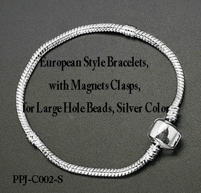 "Silver Bracelet 7"" with magnetic hinged end for large hole beads"