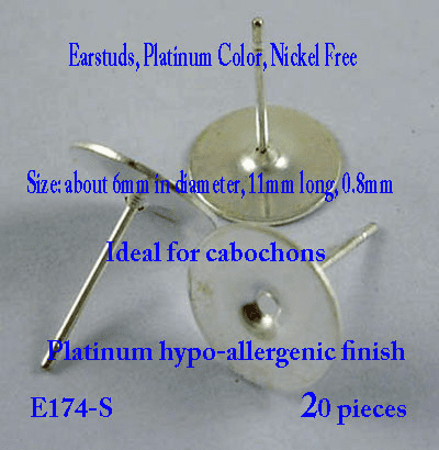 Silver Color Ear Studs - 10mm Pad