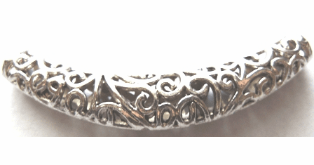 Silver Finish Filigree Tube Bead-LF10634Y