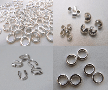 -Jump Rings, Tips, Crimps, and Covers- .999 Silver Over Copper