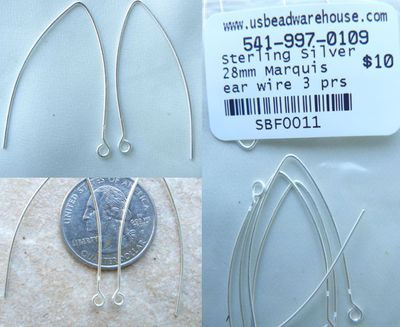 Sterling Silver Marquise ear wires 28mm 3 pairs