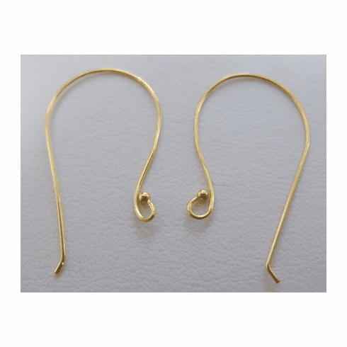 Simple Ear Wire With Ball - 26mm - 11 Pairs - 24KT Gold Over Copper