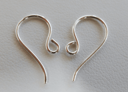 Simple Fishhook Ear Wire - 10x20mm - 22 ga. - Approx. 25 Pairs - .999 Silver Over Copper