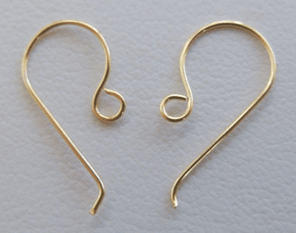Simple Fishhooks - 10x15mm - 30 Pair - 24KT Gold Over Copper