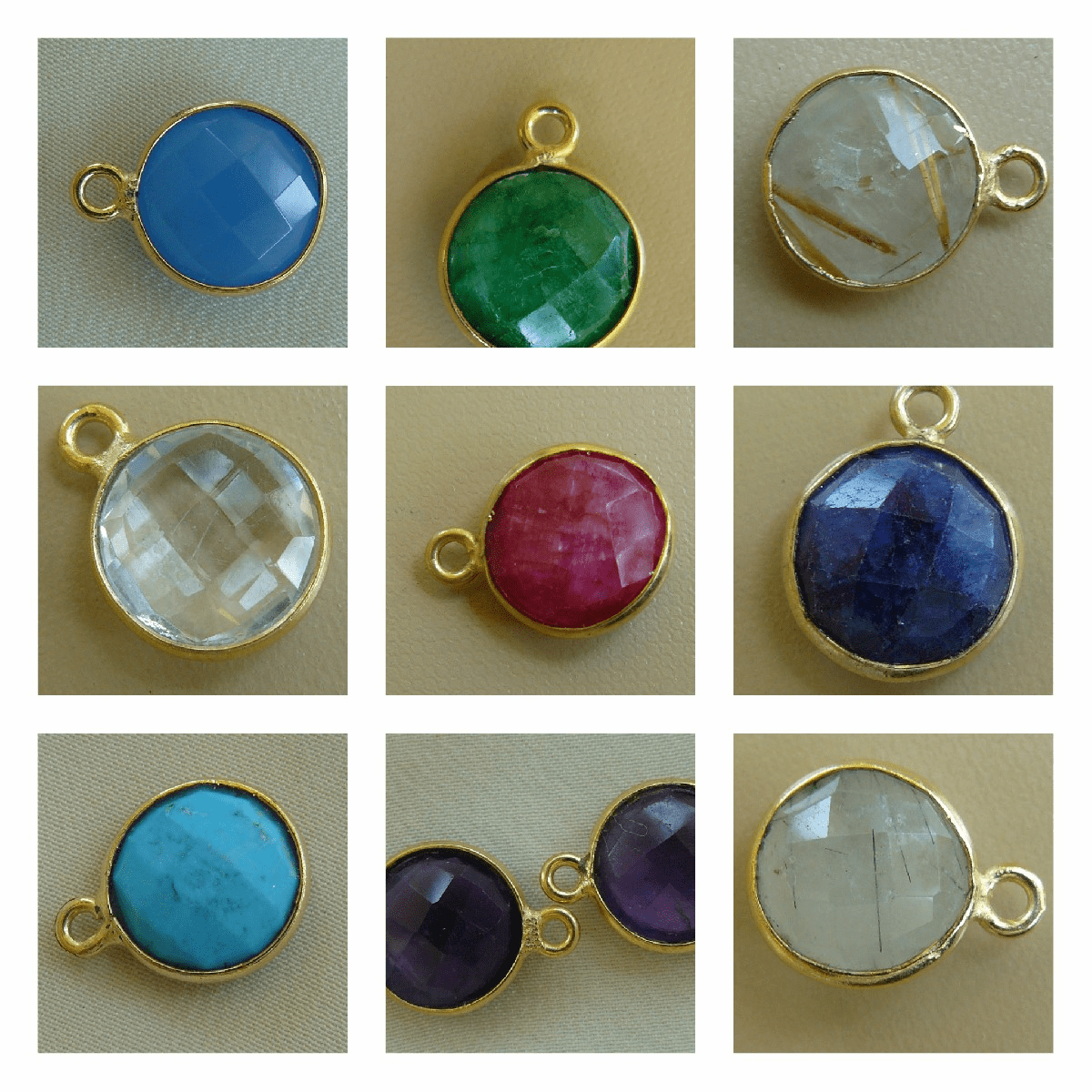 single loop connectors with gold bezel choose your stone