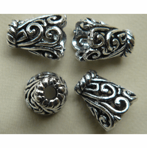 Small Fancy Cone - 10mm - 9 Pieces - .999 Silver Over Copper