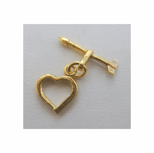 "Small Heart and Arrow Toggle - 12mm Heart w/ 18mm ""Arrow"" Bar - 12 Sets - 24Kt. Gold Over Copper"