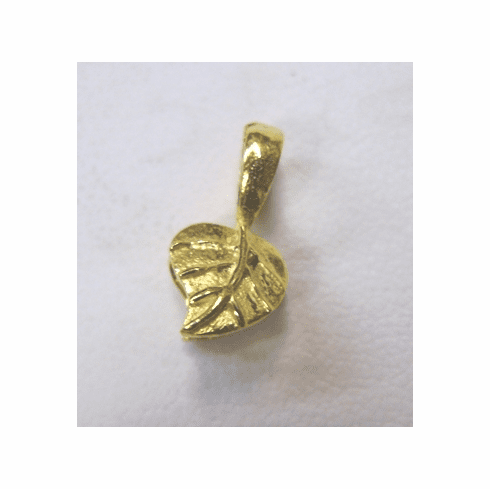 Small Leaf Pinch Bail - 7mm - 15 Pieces - 24KT Gold Over Copper