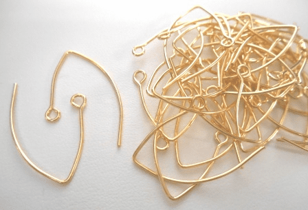 Small Marquis Ear Wire - 30x23mm - 40 Pieces - 24kt Gold Over Copper