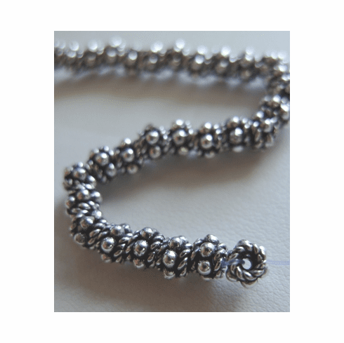 Small Rope Detail Spacer -  4mm - 58 Beads - .999 Pure Silver Over Copper<br>SCBK-28