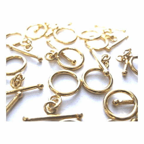 Small Toggle 16x11mm Circle w/ 18mm Bar 12 Sets 24Kt. Gold Over Copper